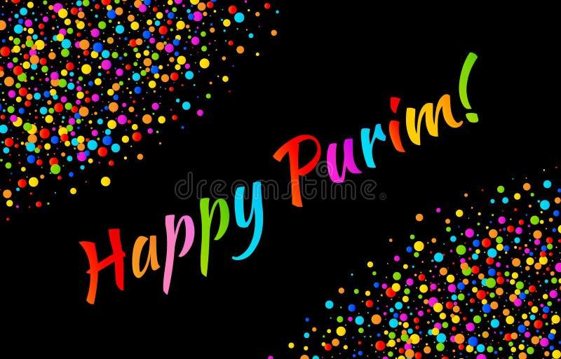 Vector helle Karte glücklichen Purim-Karnevalstext mit dem bunten glänzenden Papierkonfettirahmen, der auf schwarzem Hintergrund  vektor abbildung