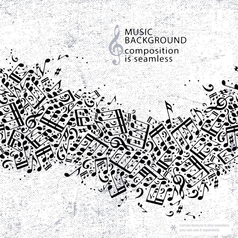 Vector hellen punktierten nahtlosen Musikhintergrund, Segeltuchbeschaffenheit wi stock abbildung