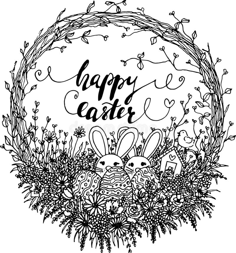 Vector hello easter wreath illustration. black and white easter clipart with easter bunny, eggs, flowers, leaves, branches. stock illustration