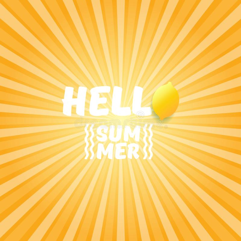 Vector Hello Summer Beach Party Flyer Design template with fresh lemon on orange sky with rays of light background. Hello Summer Beach Party Flyer Design stock illustration