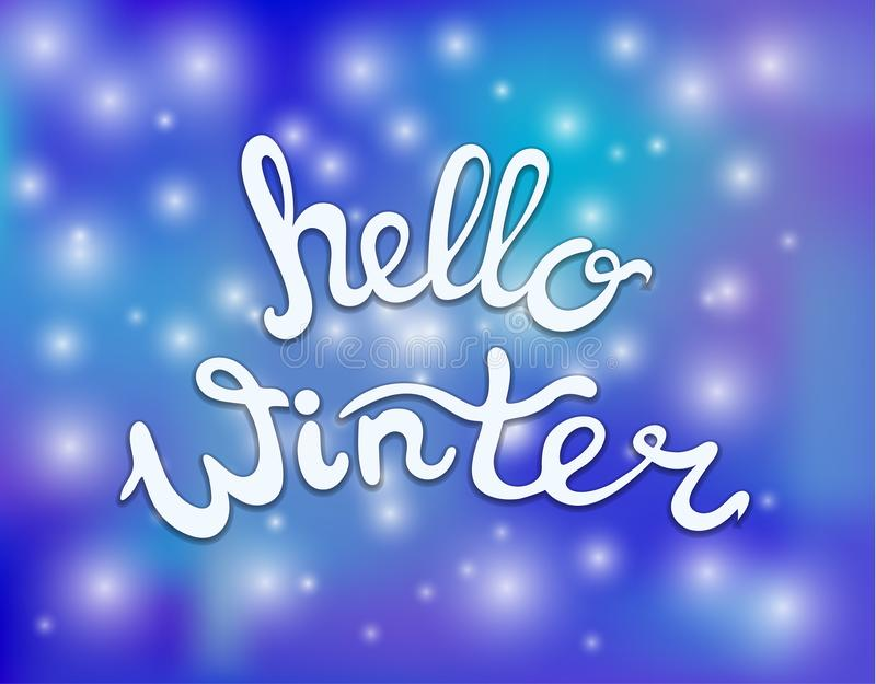 Vector Hello Winter Lettering on Snow Fall Background, Blue Color. stock illustration