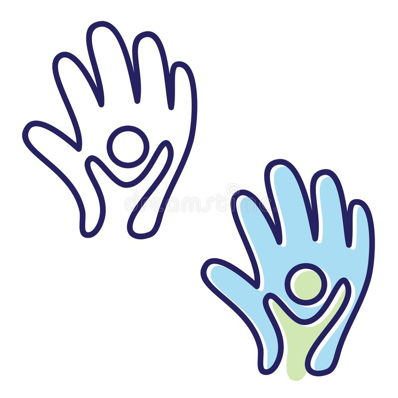 Vector helping hand icon symbol with abstract hand and people in flat style. People in abstract and flat style for element design. Vector illustration EPS.8 stock illustration