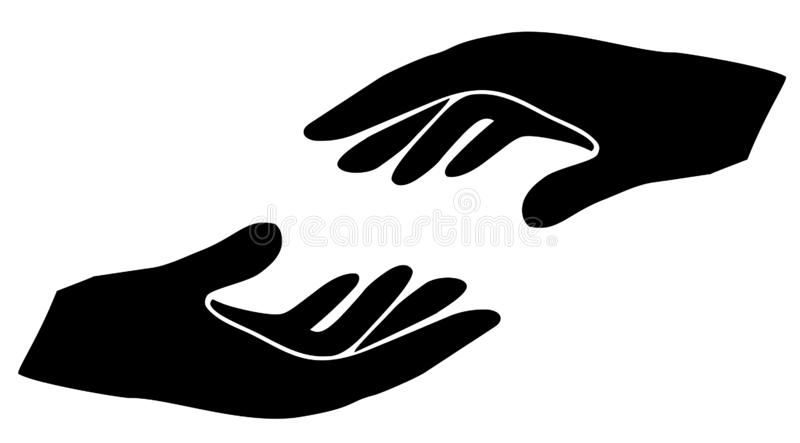 Vector Illustration of Helping Hands Sihlouette. Vector illustration of helping hands. vector hands silhouette. care, love concept vector illustration