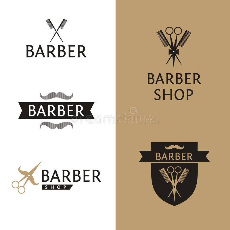 Vector heraldic logo for a hairdressing salon. Set royalty free illustration