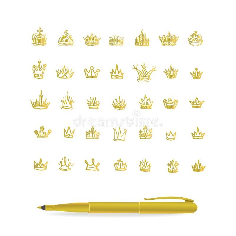 Vector heraldisch elementenontwerp Reeks hand getrokken gouden kronen vector illustratie