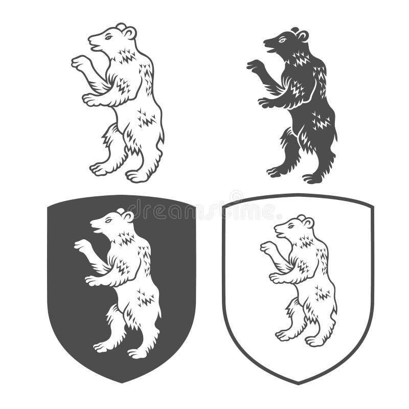 Vector heraldische schilden met beer op een witte achtergrond Wapenschild, wapenkunde, embleem, de elementen van het symboolontwe royalty-vrije stock afbeeldingen