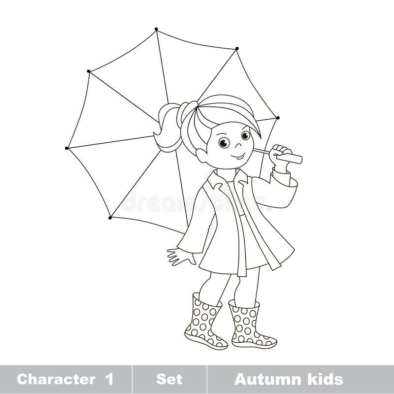 Vector Herbstmädchen mit dem gefärbt zu werden Regenschirm, vektor abbildung