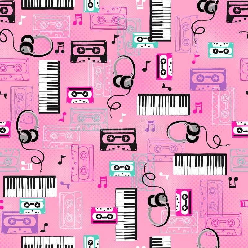 Vector herhaalt Naadloos van de muziek Patroon vector illustratie