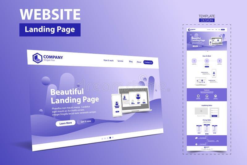 Vector hermoso del concepto de diseño de la plantilla del sitio web de la página del aterrizaje stock de ilustración