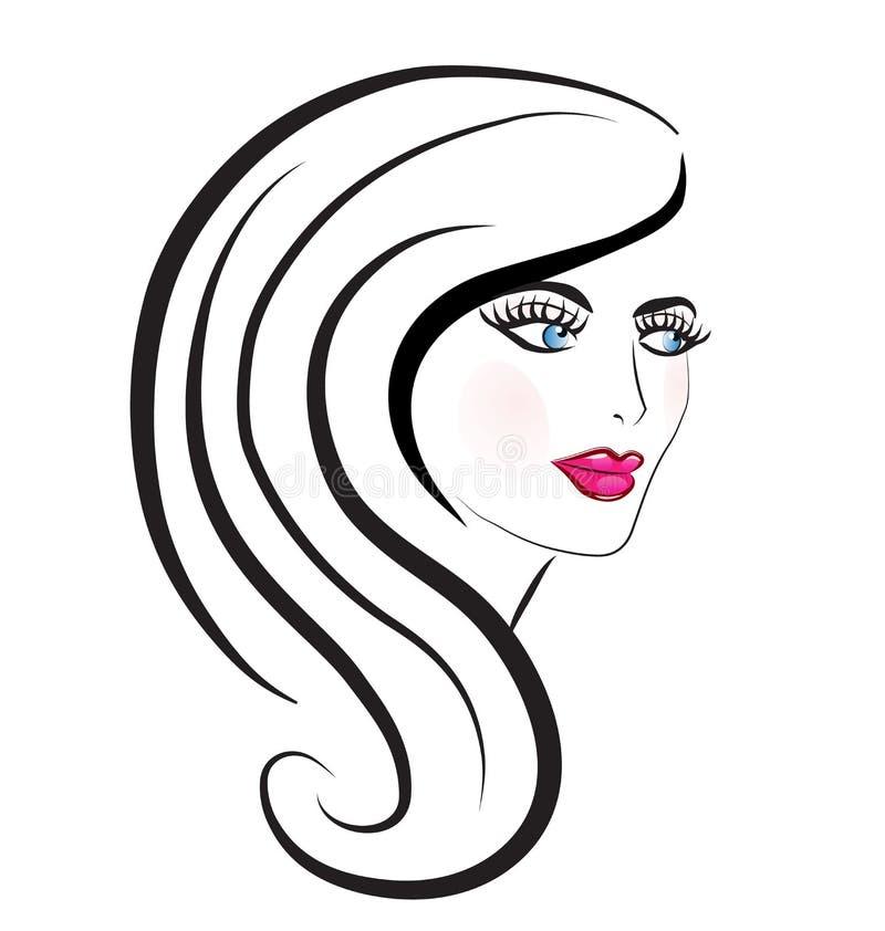 Vector hermoso del salón de pelo de la mujer stock de ilustración