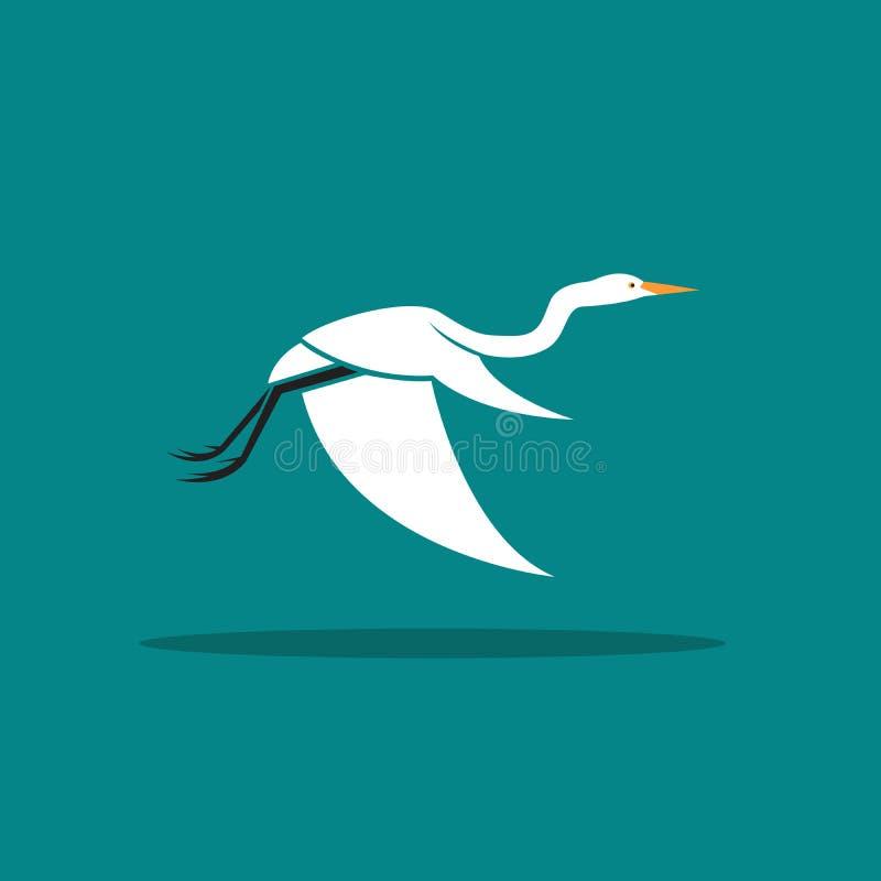 Vector of Heron or egret design Ciconiiformes, Ardeidae. Flying on blue background. Bird, Animals royalty free illustration