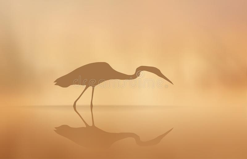 Vector Heron in the mist in the morning lake. vector illustration