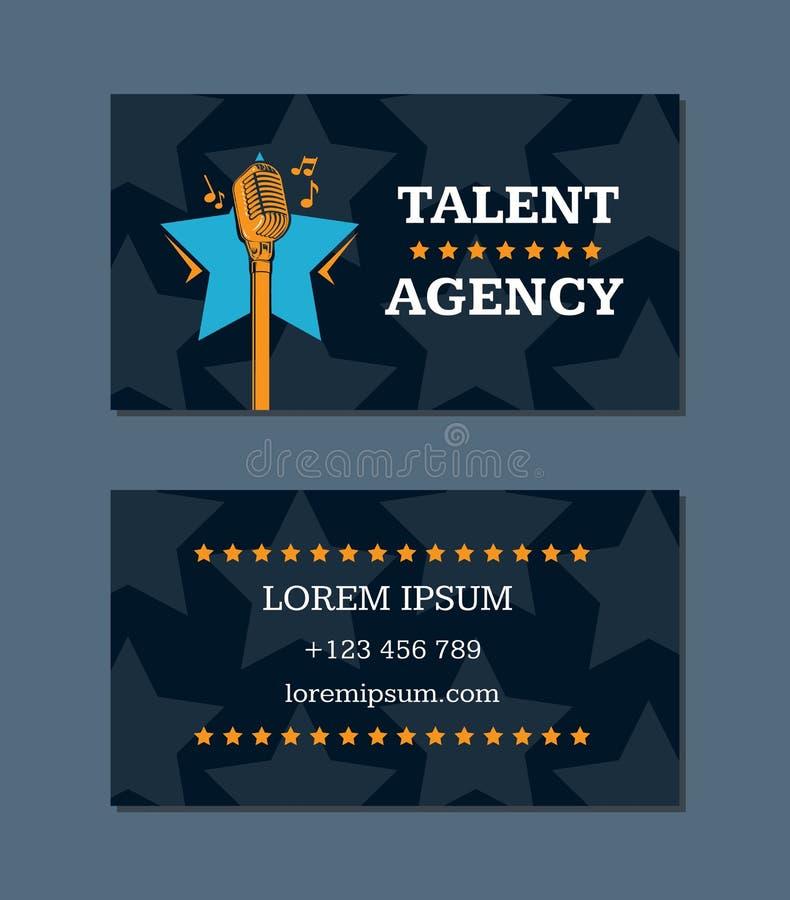Vector het adreskaartjemalplaatje van het talentenagentschap met retro microfoon en sterren royalty-vrije illustratie