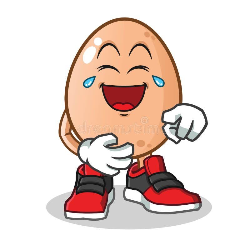 Vector het beeldverhaalillustratie van de ei luid lachend mascotte royalty-vrije illustratie