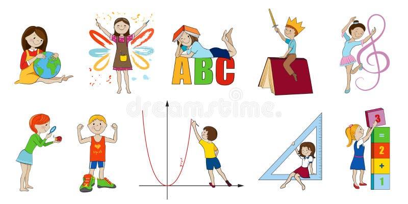 Vector het beeldverhaalillustratie van schoolonderwerpen stock illustratie