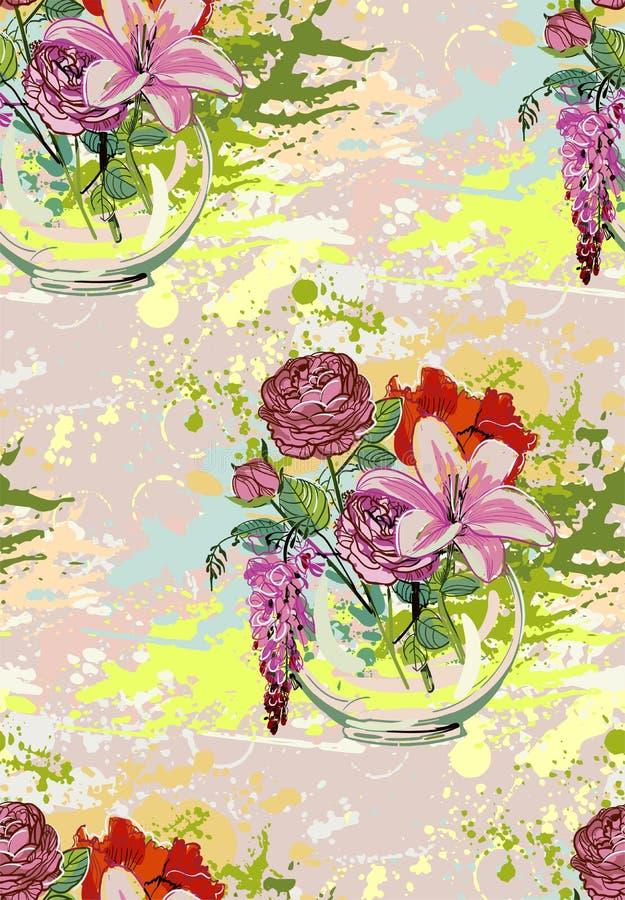 Vector het boeket naadloos patroon bloem kleurrijk van het achtergrondvaasglas vector illustratie