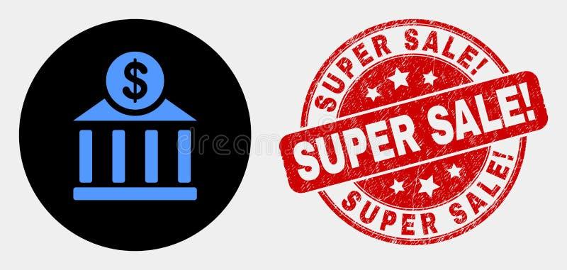 Vector het Bureaupictogram van de Dollarbank en Gekraste Super Verkoop! Verbinding stock illustratie