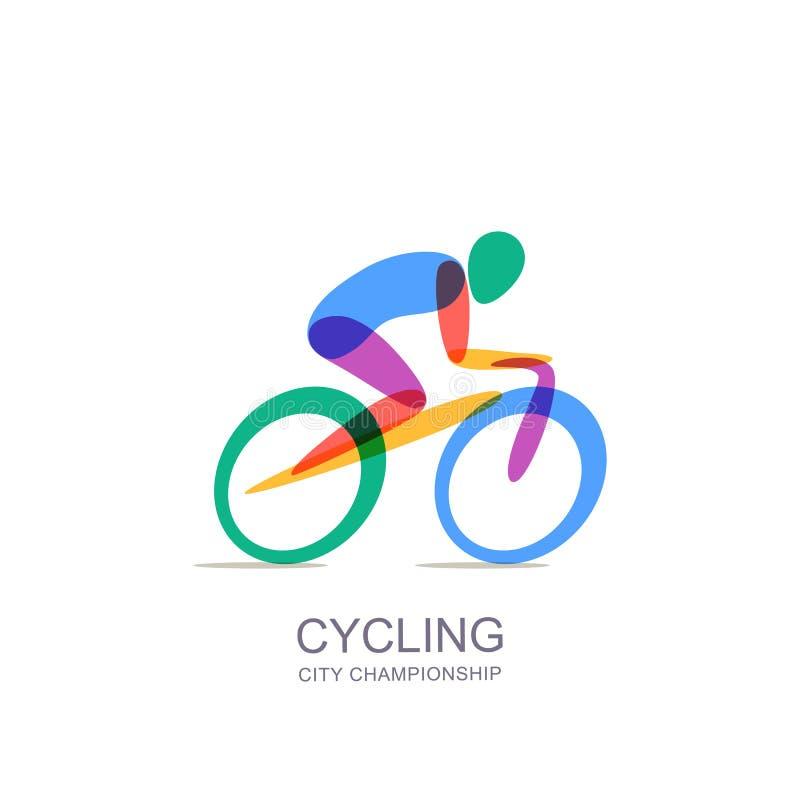 Vector het cirkelen embleem, pictogram, embleem Mens op fiets, geïsoleerde illustratie Concept voor marathon, ras, de concurrenti vector illustratie