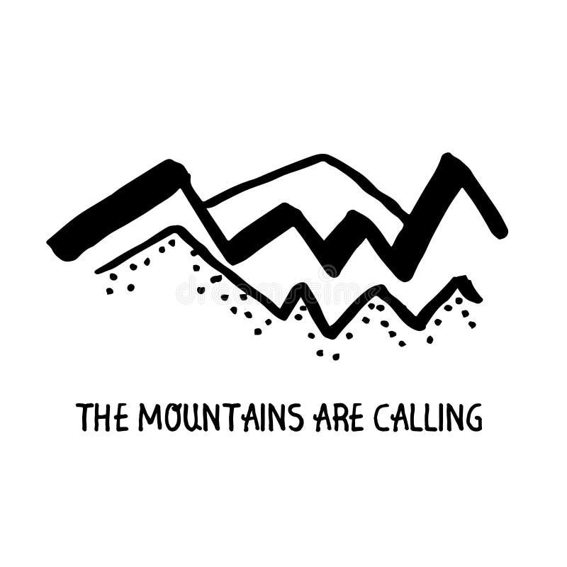 Vector het conceptenillustratie van de bergen minimalistische lineaire schets met een motivatieuitdrukking: De bergen roepen royalty-vrije illustratie