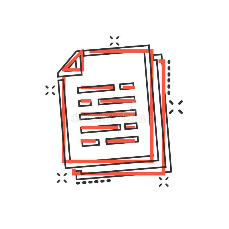 Vector het document van het beeldverhaaldocument pictogram in grappige stijl Termen blad c stock illustratie