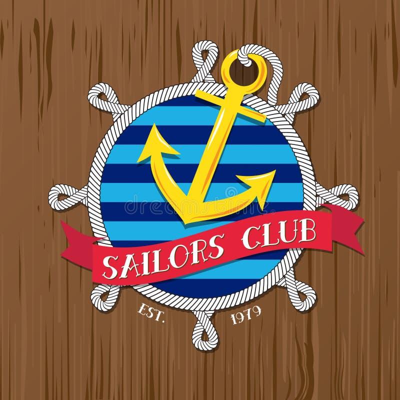 Vector: Het embleem van de zeeliedenclub met kabel en kenteken op hout vector illustratie