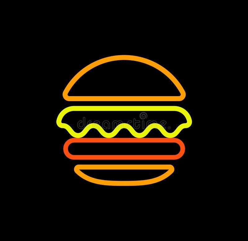 Vector het embleemmalplaatje van het hamburger isoleerde het abstracte overzicht, snel voedsel lijnkunst gestileerd pictogram, on stock illustratie