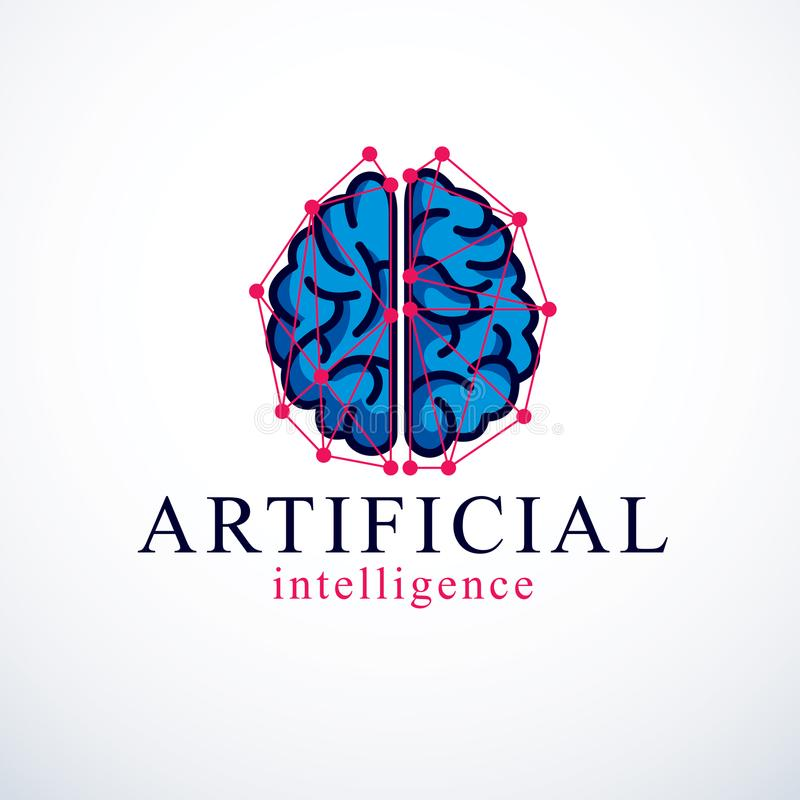 Vector het embleemontwerp van het kunstmatige intelligentieconcept Menselijke anatom royalty-vrije illustratie