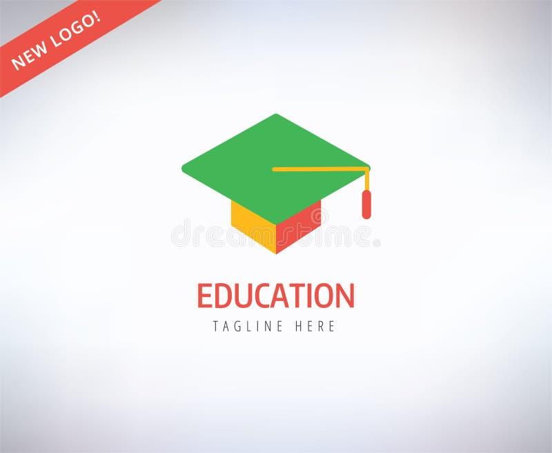 Vector het embleempictogram van de graduatiehoed Onderwijs royalty-vrije illustratie
