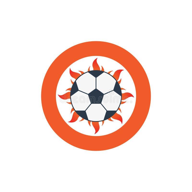 Vector het embleempictogram van het illustratievoetbal met brand en bal vector illustratie