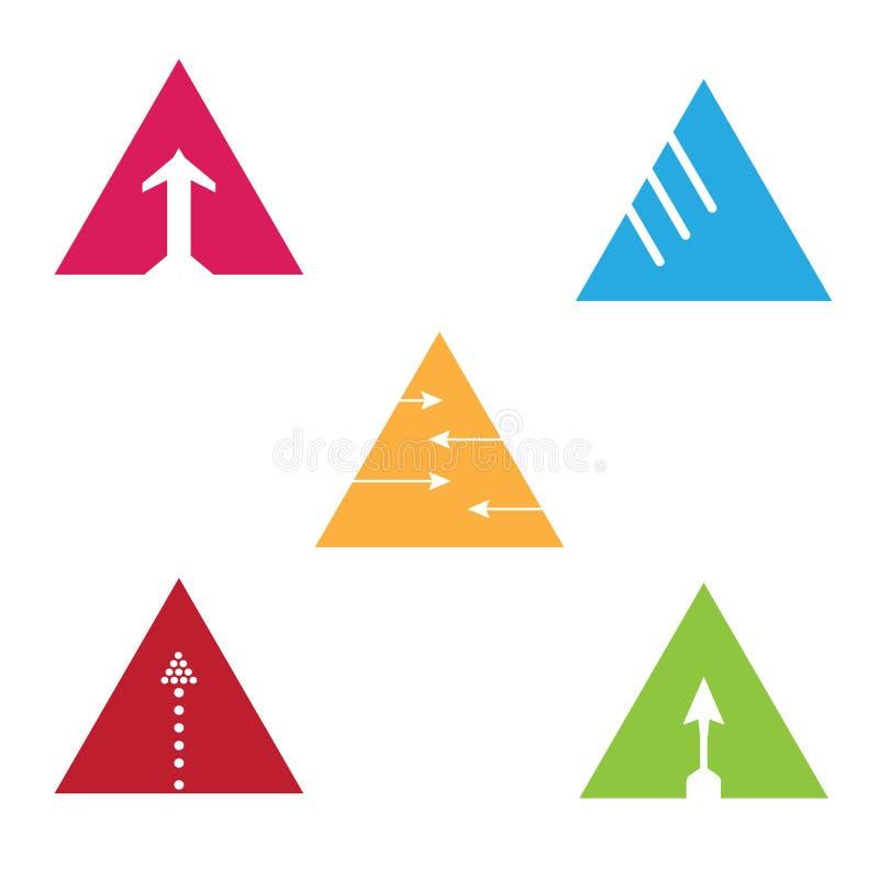 Vector het embleemreeks van de driehoekspijl Abstracte Bedrijfspictogramreeks royalty-vrije illustratie