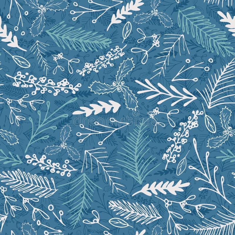 Vector het gebladerte naadloos patroon van de winterkerstmis Elegant retro van het de vakantieseizoen van de krabbelstijl de druk royalty-vrije illustratie