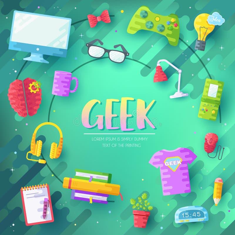 Vector het geeks geplaatste pictogrammenillustraties Vlakke bureau professionele ontwikkelaar rond het concept van werkplaatsechn royalty-vrije illustratie