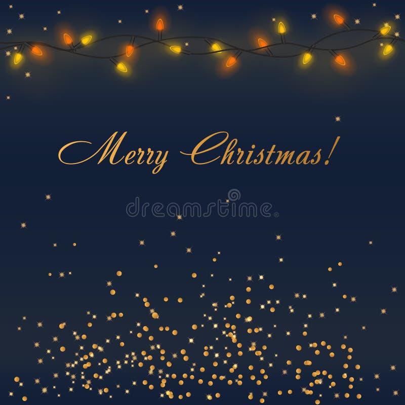 Vector het Gloeien Kerstmislichten met kleurrijke slingerverlichting en gouden decoratie met Vrolijke Kerstmiswoorden vector illustratie