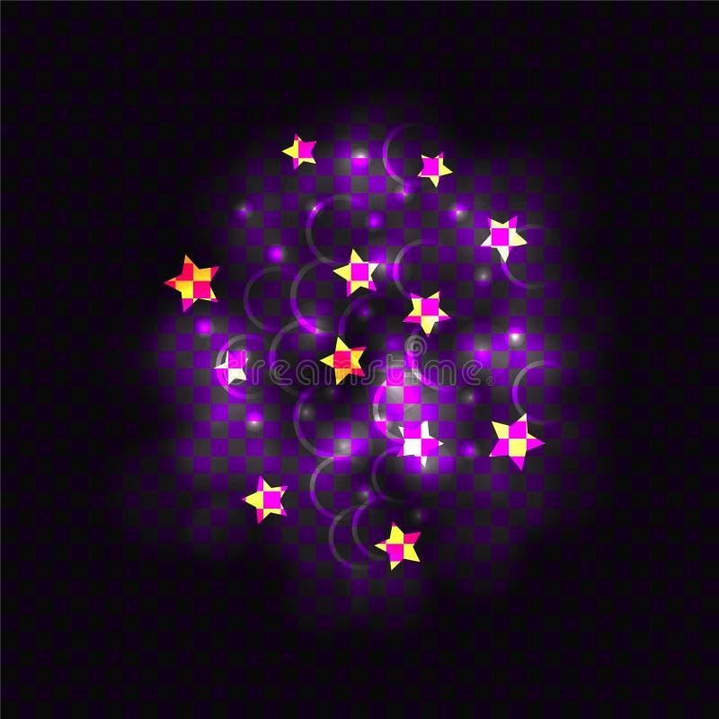 Vector het Gloeien Lichten en Ster Gestalte gegeven Confettien die op Donkere Achtergrond, Decoratieve Elementen worden geïsoleer stock illustratie