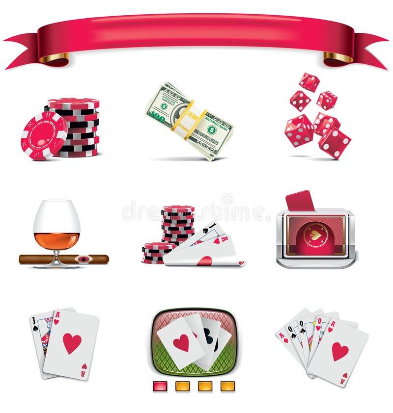 Vector het gokken pictogramreeks. Deel 1 (op wit) royalty-vrije illustratie
