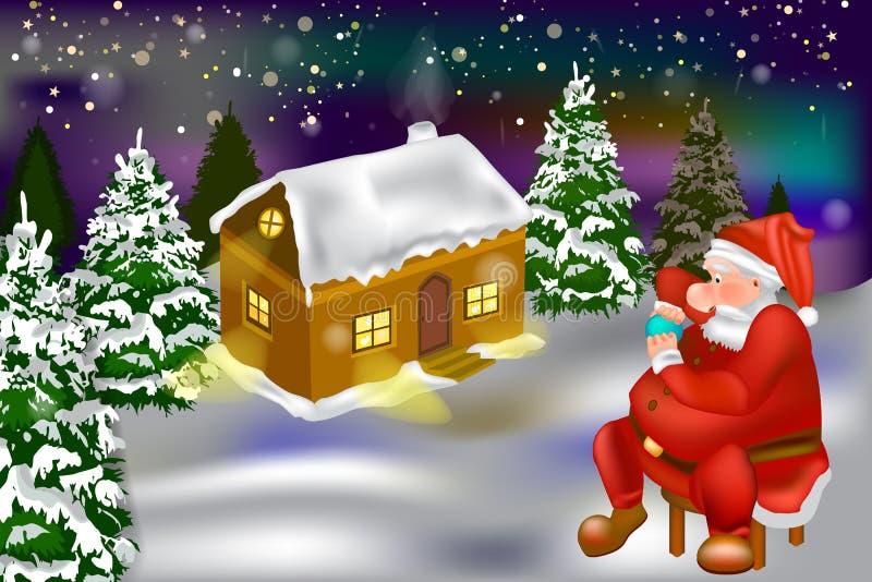 Vector - het huis van de de wintersneeuw in het bos en de Kerstman stock illustratie