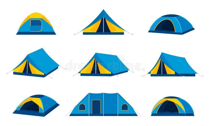 Vector het kamperen tentpictogrammen royalty-vrije illustratie