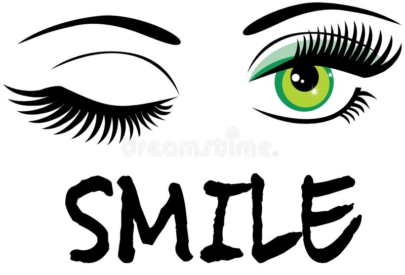 Vector het knipogen groene ogen met glimlachtekst stock illustratie