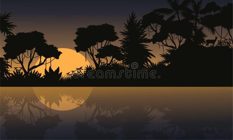 Vector het landschapssilhouetten van de illustratiewildernis royalty-vrije illustratie