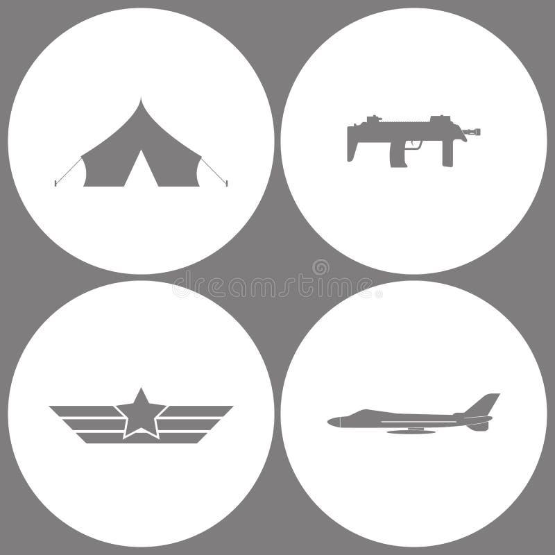 Vector het Legerpictogrammen van het Illustratie Vastgestelde Bureau Elementen van Barakken, militaire tent, Submachine, Luchtvaa vector illustratie