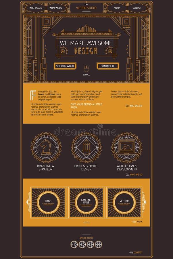Vector het malplaatje van de paginawebsite van de creatieve diensten van de ontwerpstudio Ontwerp in in art decostijl royalty-vrije illustratie