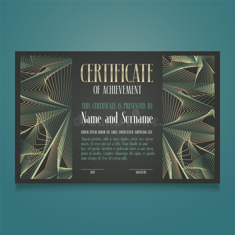 Vector het malplaatjeillustratie van het appreciatiecertificaat Erkennings lege toekenning, diploma voor voltooiing vector illustratie