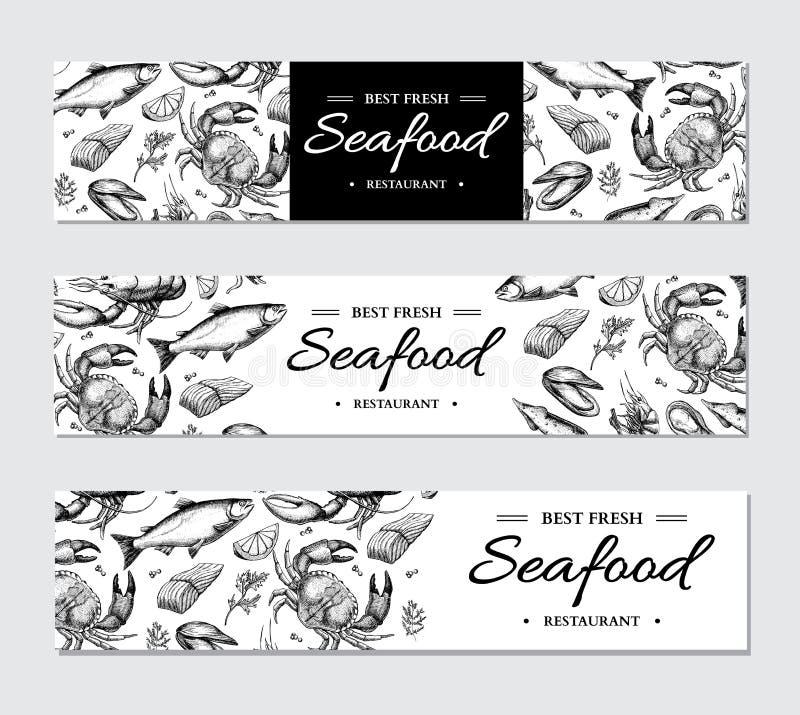 Vector het malplaatjereeks van de zeevruchtenbanner Hand getrokken illustratie Krab, zeekreeft, garnalen, oester, mossel, stock illustratie