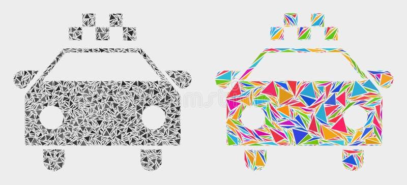 Vector het Mozaïekpictogram van de Taxiauto van Driehoekspunten royalty-vrije illustratie
