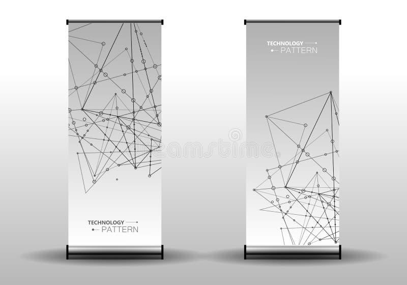 Vector het netwerktechnologie van de malplaatjebanner en medische achtergrond Veelhoekig ruimteontwerp met het verbinden van punt royalty-vrije illustratie