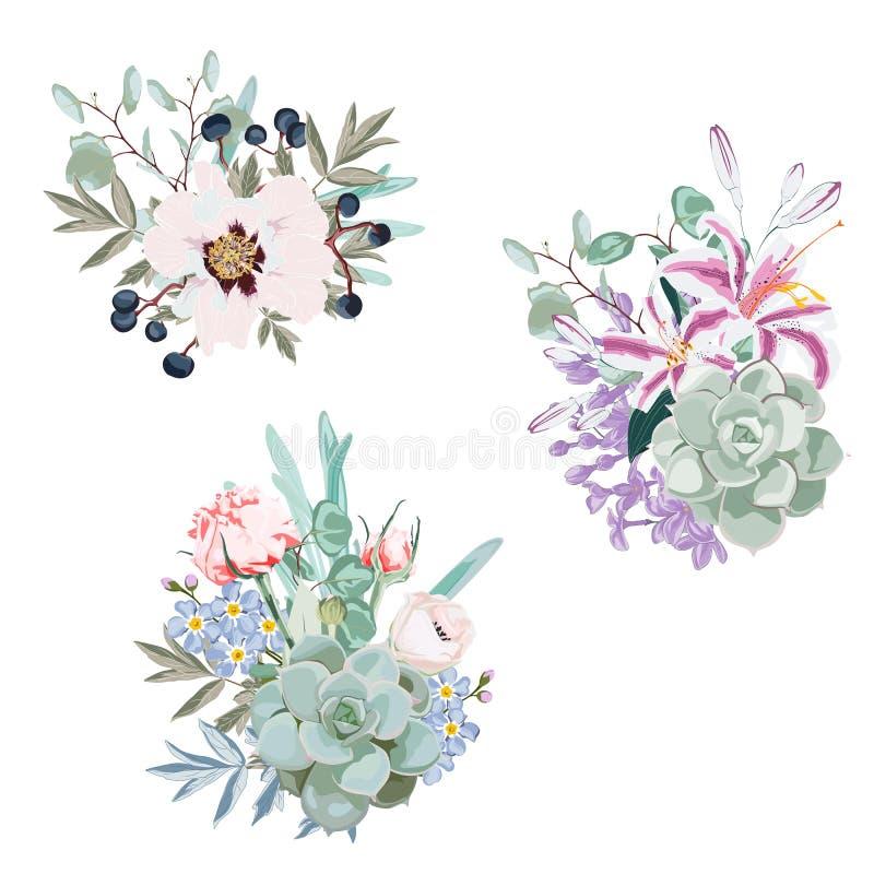 Vector het ontwerpboeketten van huwelijks seizoengebonden bloemen stock illustratie