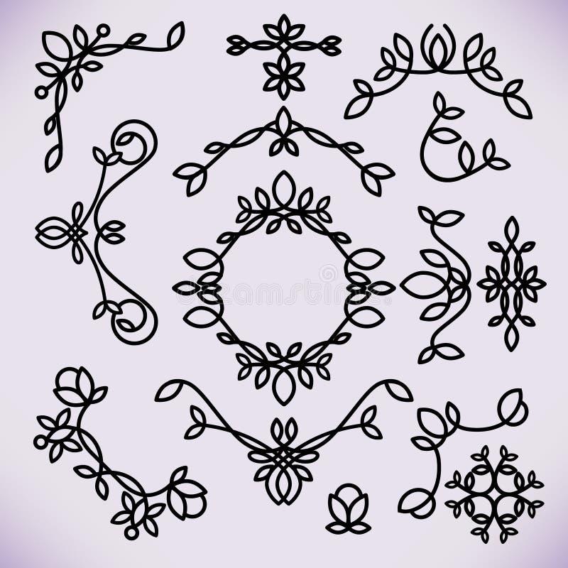 Vector het ontwerpelementen van het lijnkader, ornament, embleem stock illustratie