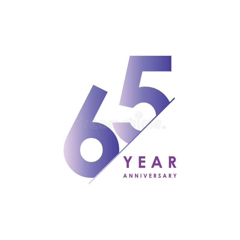 Vector het Ontwerpillustratie van de 65 Jaarverjaardag stock illustratie