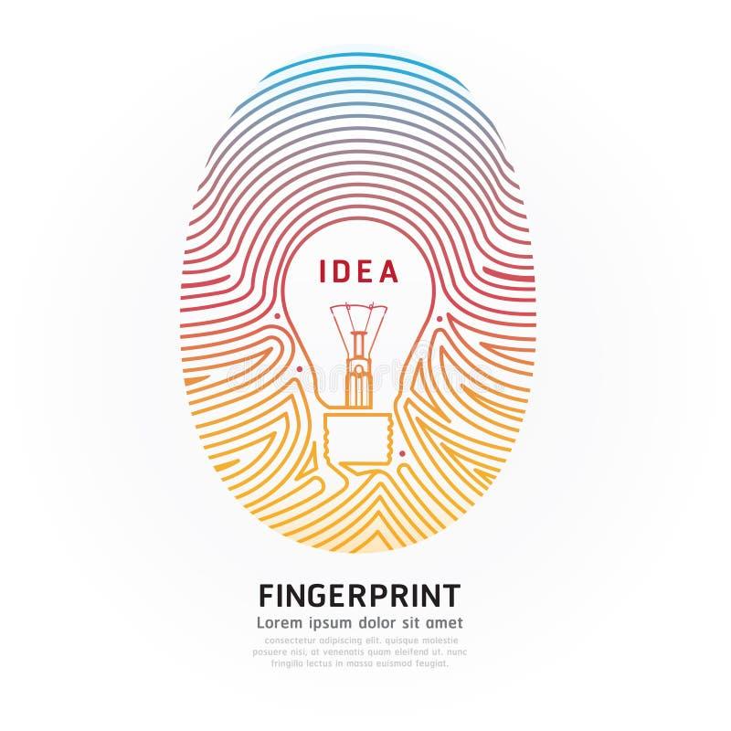 Vector het ontwerpillustratie van de vingerafdruk lightbulb kleur. stock illustratie