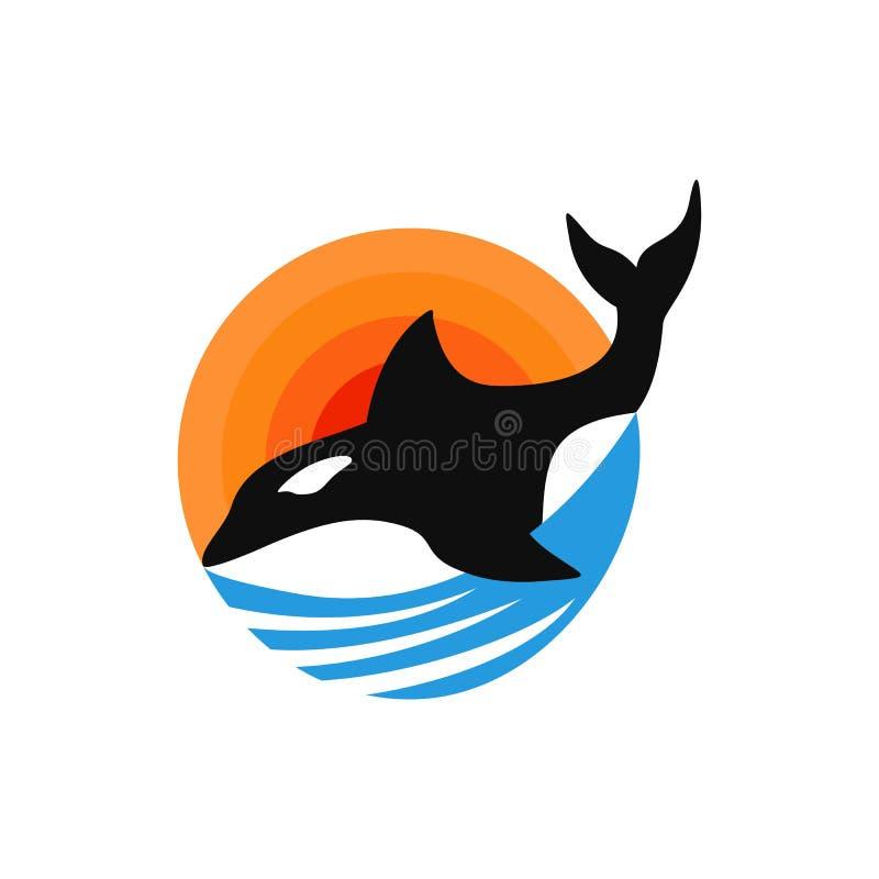 Vector het ontwerpillustratie van het walvis oceaanembleem royalty-vrije illustratie